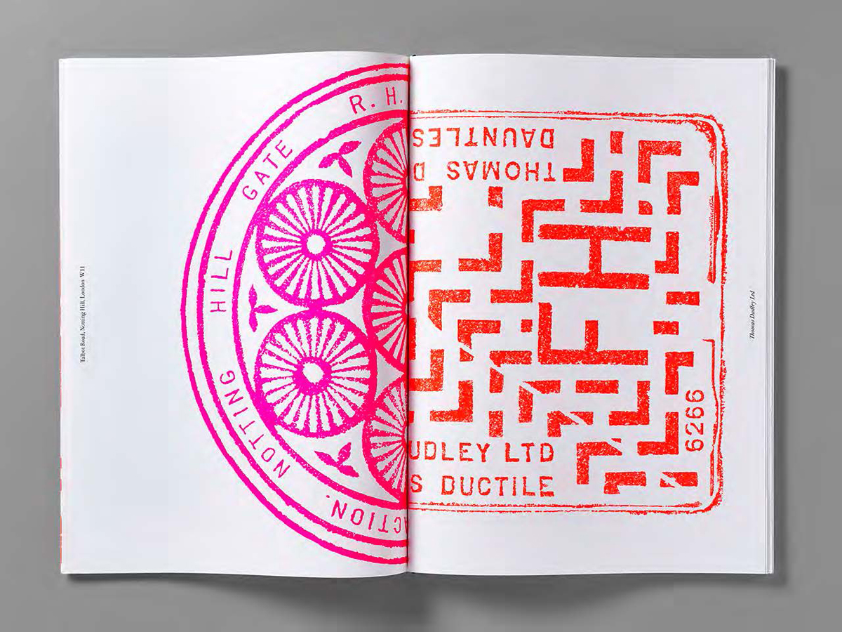 Manhole cover rubbings from around London celebrate the intricate designs and patterns found on the city's streets