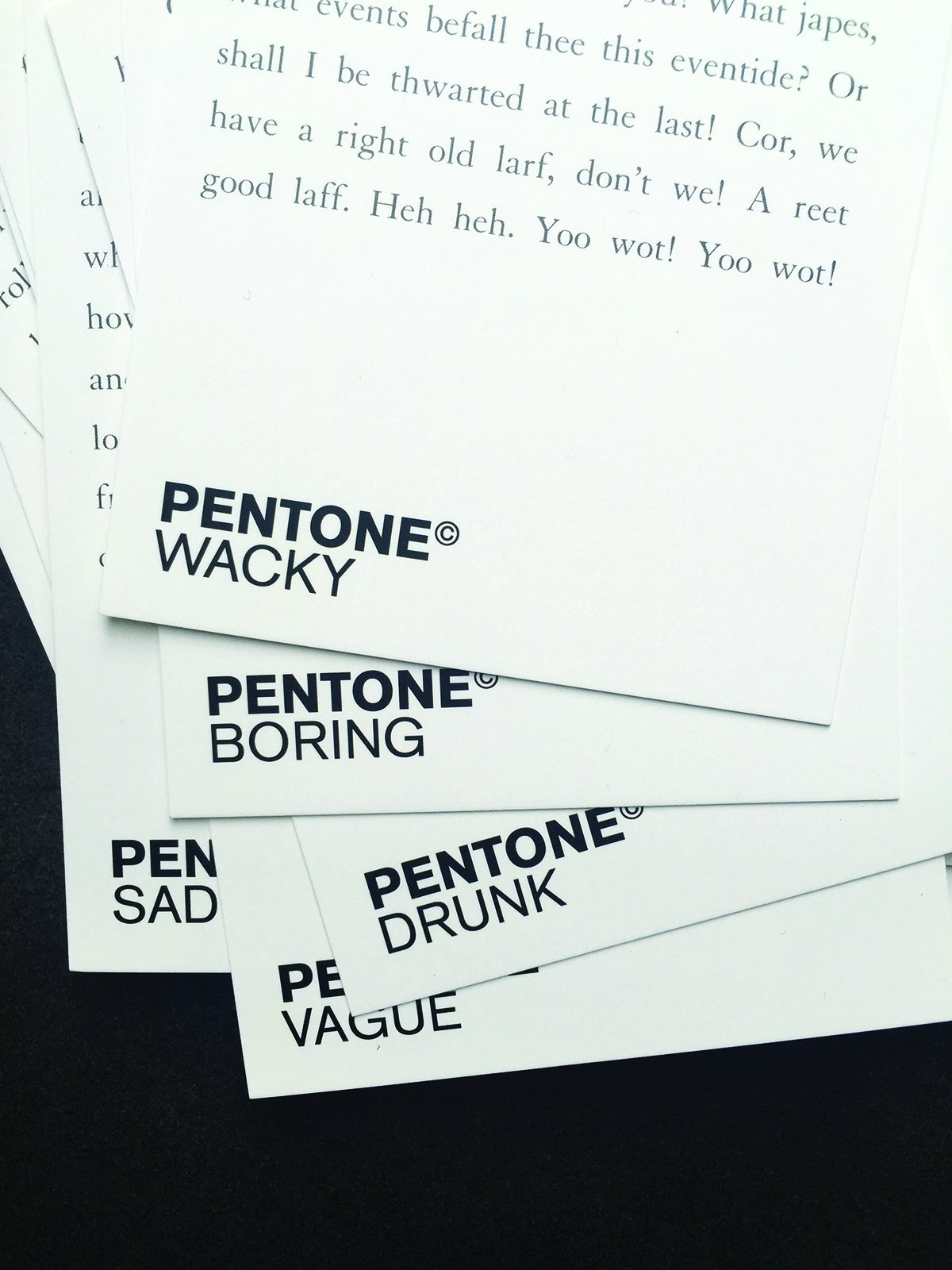 This page: What happens if you apply the Pantone colour-matching system to written tone of voice? Pentone is an ongoing project by Asbury & Asbury