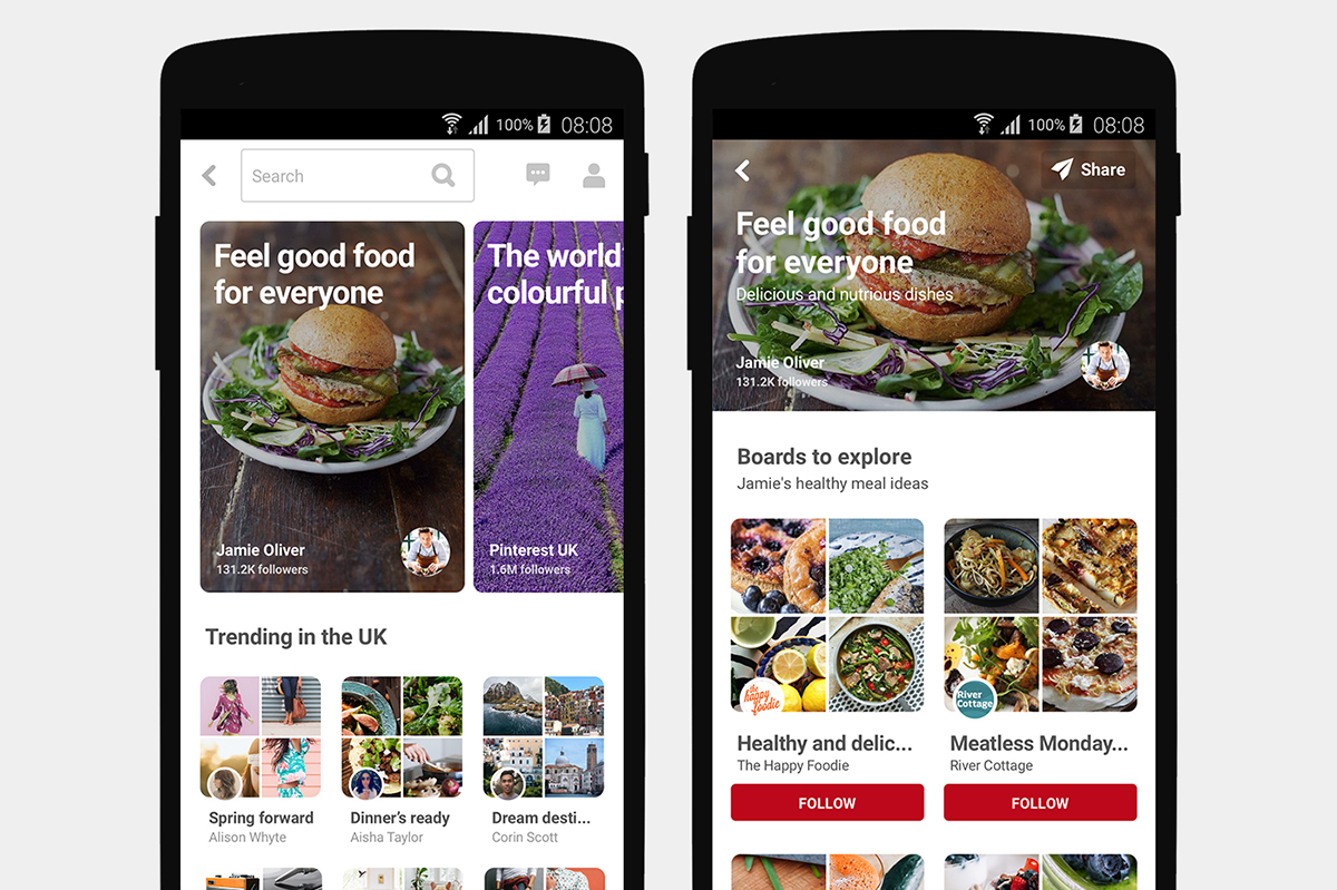 Pinterest's featured collections as seen on an Android phone