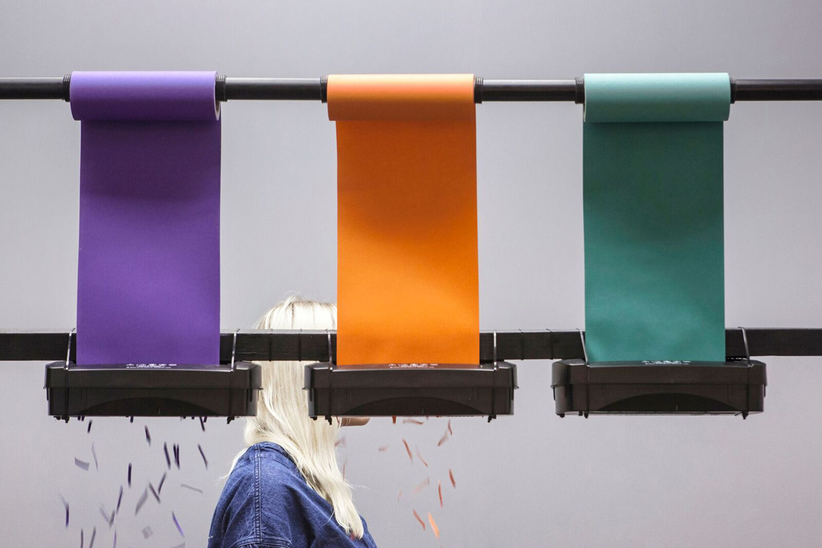 Chromatology uses a trio of shredders to produce a colourful paper trail in response to the movement of passing visitors