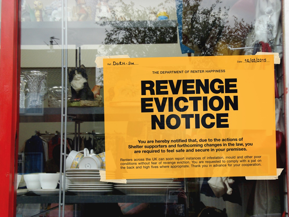 Revenge Eviction Notice campaign from 2015 by Shelter's in-house creative team