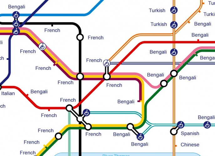 Detail of Second Languages at Tube Stops map