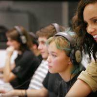 Alicia Keys with students at Edward R. Murrow High School in Brooklyn