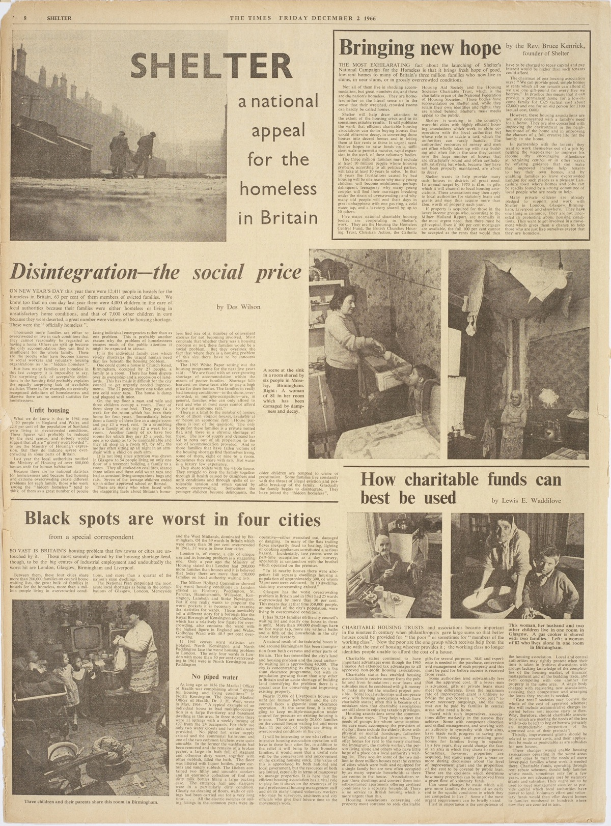 A full page in The Times introduces Shelter: the National Campaign for the Homeless, December 2 1966