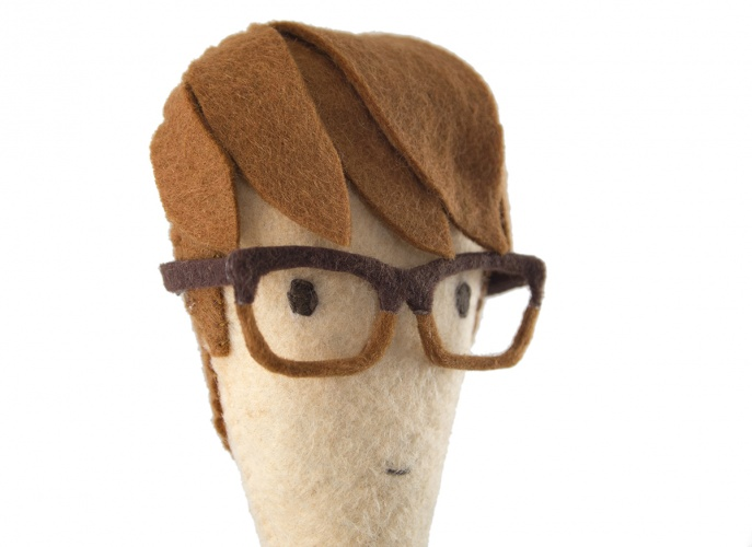 Close-up of moo.com employee Tom's felt figure by Helen Greenstein