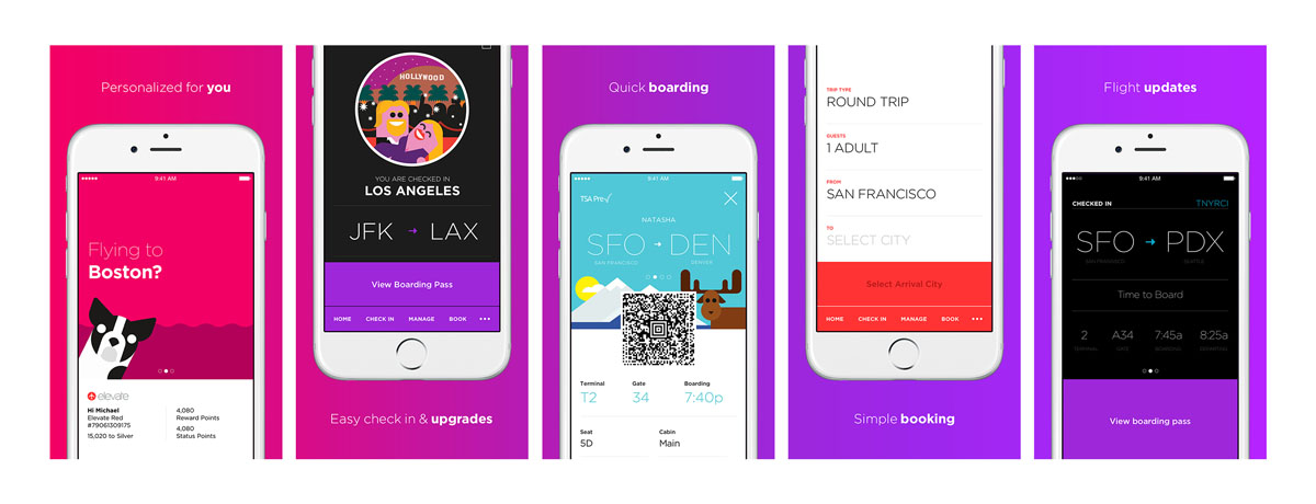 The new Virgin America app, created by Work & Co and Build