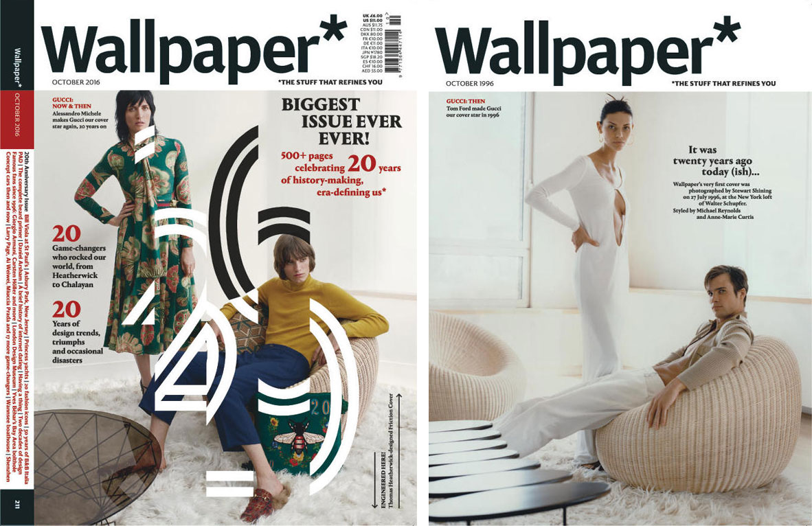 Wallpaper's 20th anniversary issue features two covers - the first, designed by Thomas Heatherwick, can be cut into strips and reassembled to create a kinetic design. The second features an image from a Gucci shoot which appeared on the cover of the magazine's first ever issue in 1996