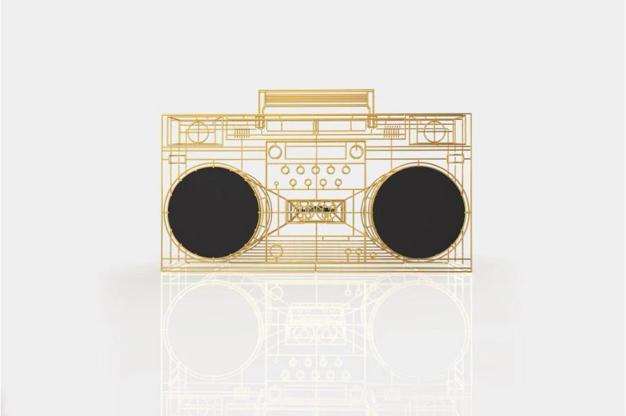 Qu'est-ce que c'est wireframe boom box created by Yuri Suzuki for Electro Craft