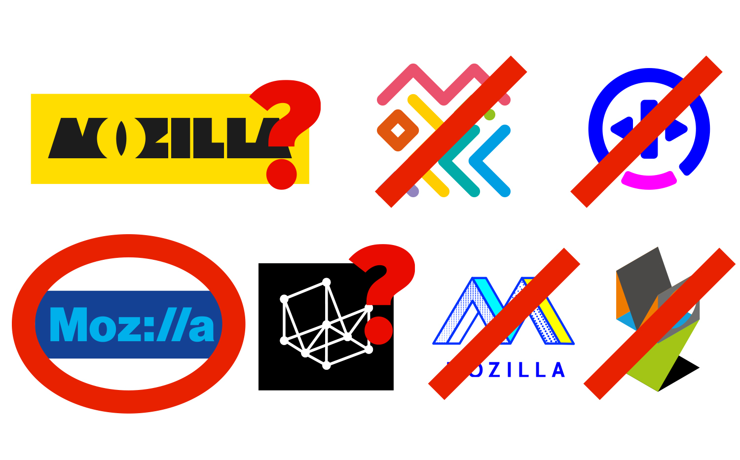 Possible design routes for Mozilla's new logo and visual identity