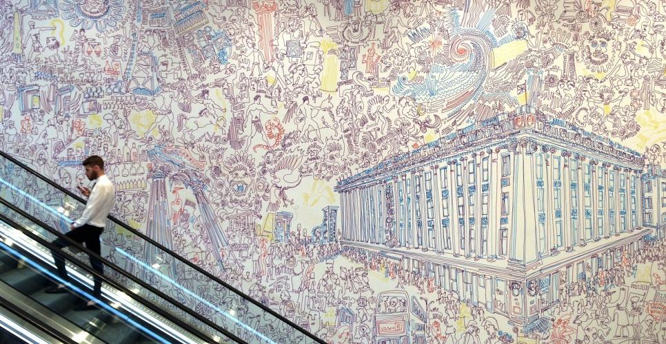 Jonny Voss mural at Selfridges, London