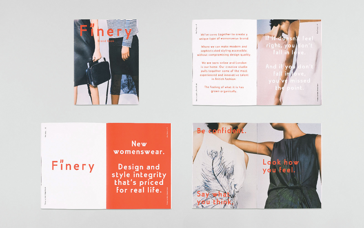 A brand book created for Finery London by Assembly (assemblylondon.com), who designed the brand's visual identity