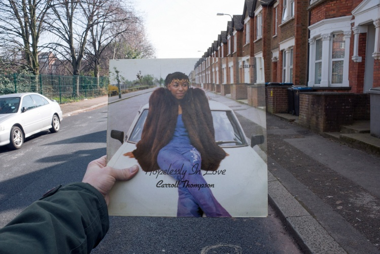 Carroll Thompson, Hopelessly in Love (Carib Gems, 1981), rephotographed on Milton Avenue, London NW10, 34 years later. Photos © 2016 Alex Bartsch, courtesy One Love Books