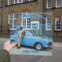 Moodie, Early Years (Moodie Music, 1974), rephotographed on Downhills Park Road, London N17, 41 years later. Photos © 2016 Alex Bartsch, courtesy One Love Books