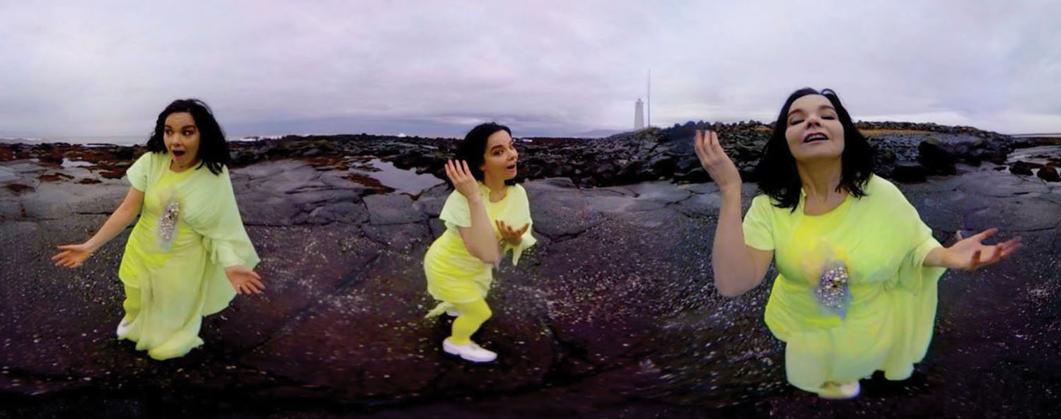 Björk's show as it appeared at Vivid Sydney earlier this year. Photo: Santiago Felipe; VR version of Andrew Thomas Huang's Stonemilker video.