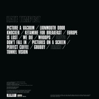 The album's back cover features track listings in bold text