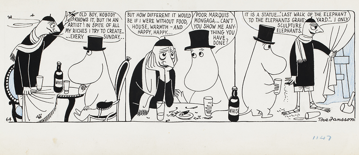 Tove Jansson, Comic strip Moomin on the Riviera, 1955, British Cartoon Archive, University of Kent. Photo: Finnish National Gallery / Jenni Nurminen