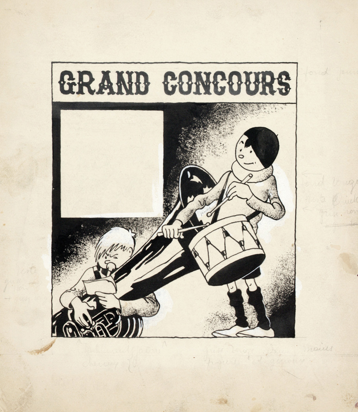 Les Aventures de Quick et Flupke – Grand Concours, cover illustration of the Petit Vingtième edition of June 16 1938 (Indian ink and gouache on paper)