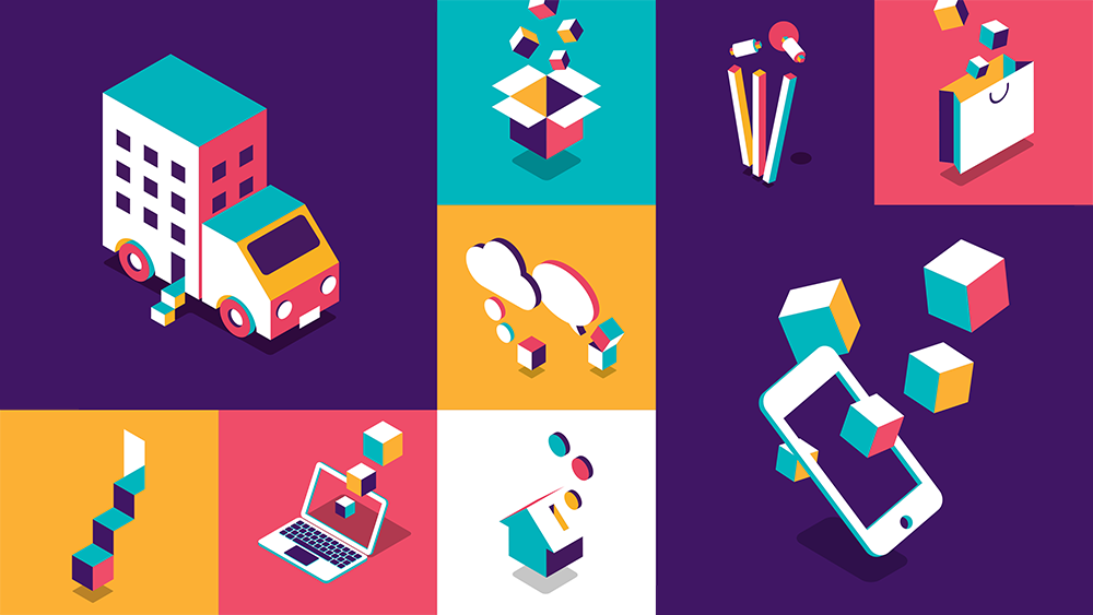 The blocks in the new logo appear in colourful illustrations depicting the bank's various services