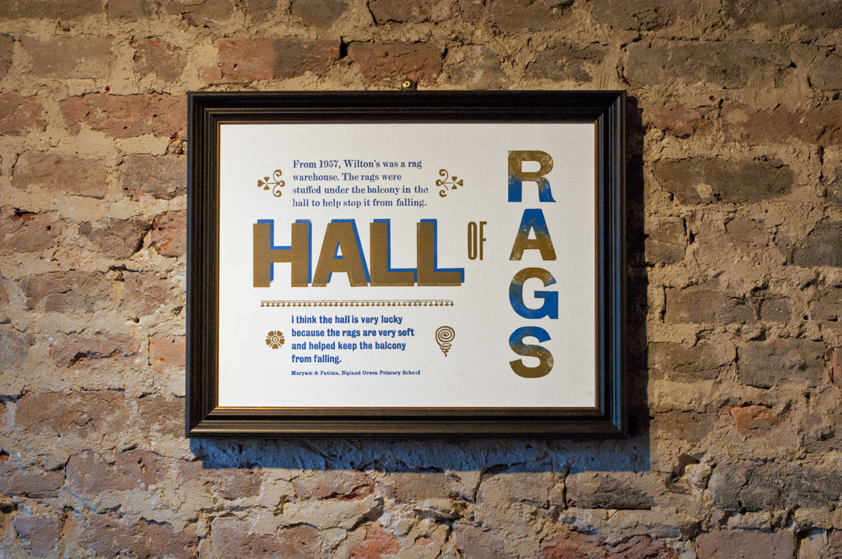 Poster designed by Maryam and Fatima, in situ at Wilton's Music Hall