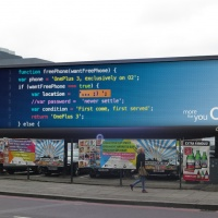 O2 coded billboard Shoreditch