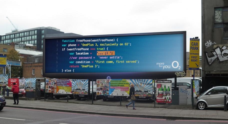 O2 coded billboard Shoreditch