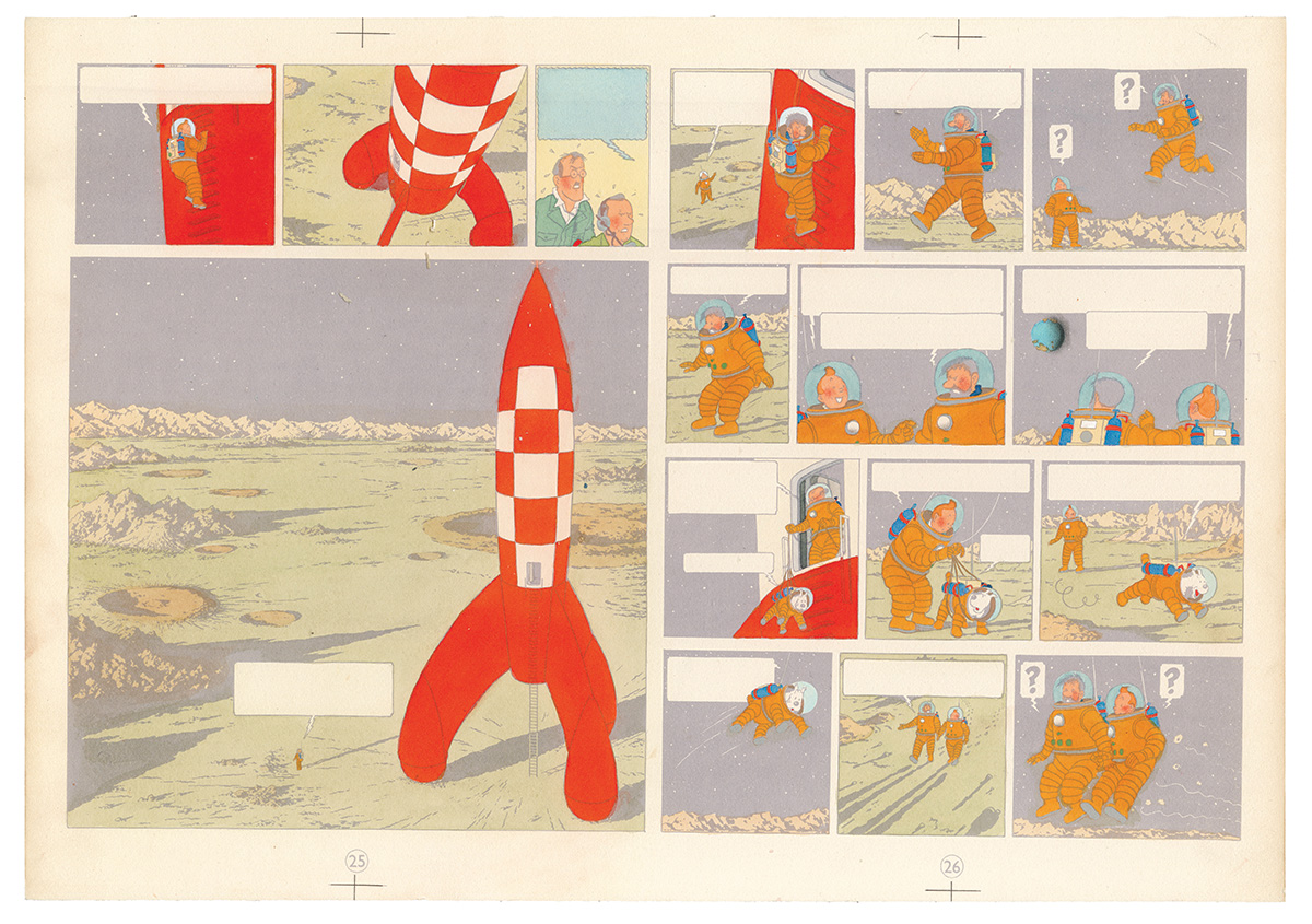 Blue colouring for sheets 25 and 26 of Les Aventures de Tintin – On a marché sur la Lune, 1954 (watercolour and gouache applied on printed proof).