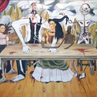 The original painting, The Wounded Table by Frida Kahlo