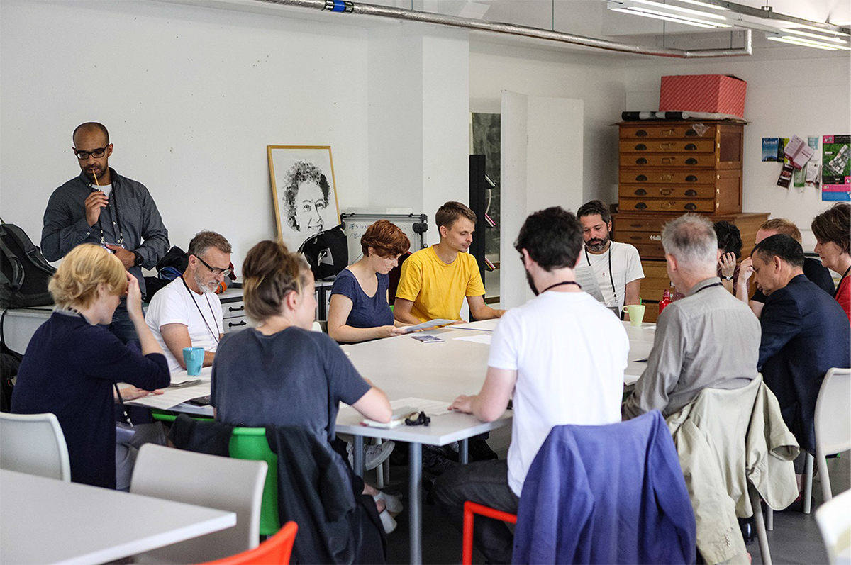 Bianca Elzenbaumer and Fabio Franz of Brave New Alps engage participants in their workshop on labour politics, power structures and hidden economies of design. Photo: Alex Lloyd Jenkins