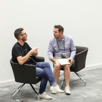 An animated Derek Yates (Winchester School of Art, University of Southampton, on right) in conversation with Mat Heinl of Moving Brands, about open ended, prototype driven, collaborative enquiry. And failure! Photo: Alex Lloyd Jenkins