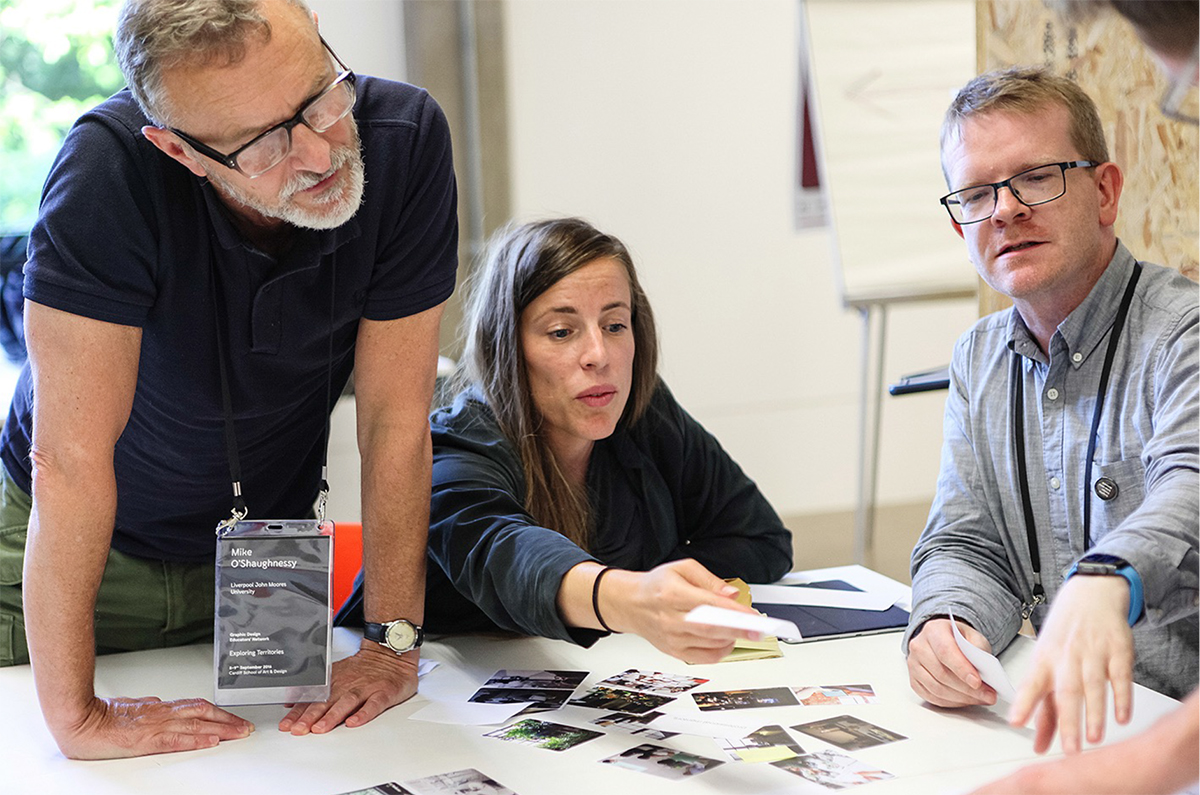 Mike O'Shaughnessy, Laura Parke (both Liverpool John Moores University) and Jonathan Baldwin (University of South Wales) exchange their ideas. Photo: Alex Lloyd Jenkins