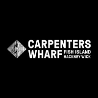 Carpenters Wharf logo combines a dovetail joint a fish and a C
