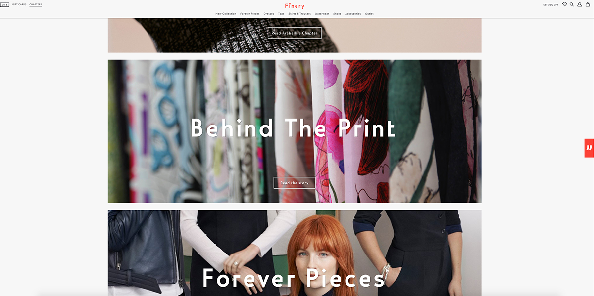 Finery London's website