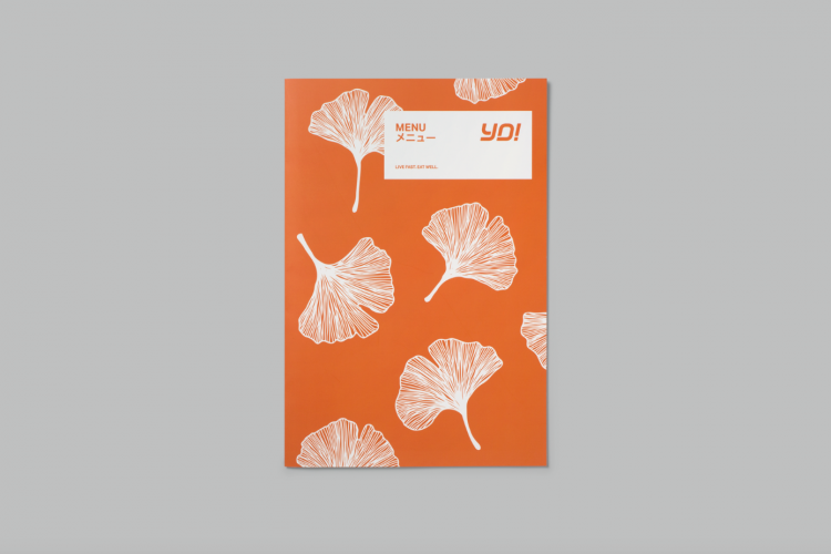 Menu featuring a pattern based on the Japanese Ginkgo plant