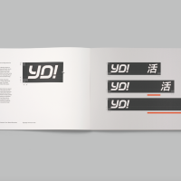 YO!'s new logo. The word is accompanied by Kanji script on fascias