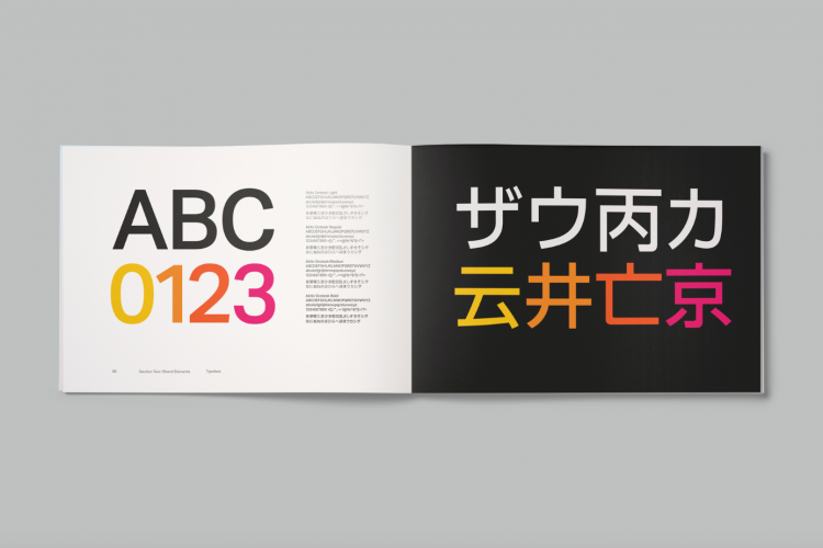 The YO! brand book introduces a new typeface, Aktiv Grotesk