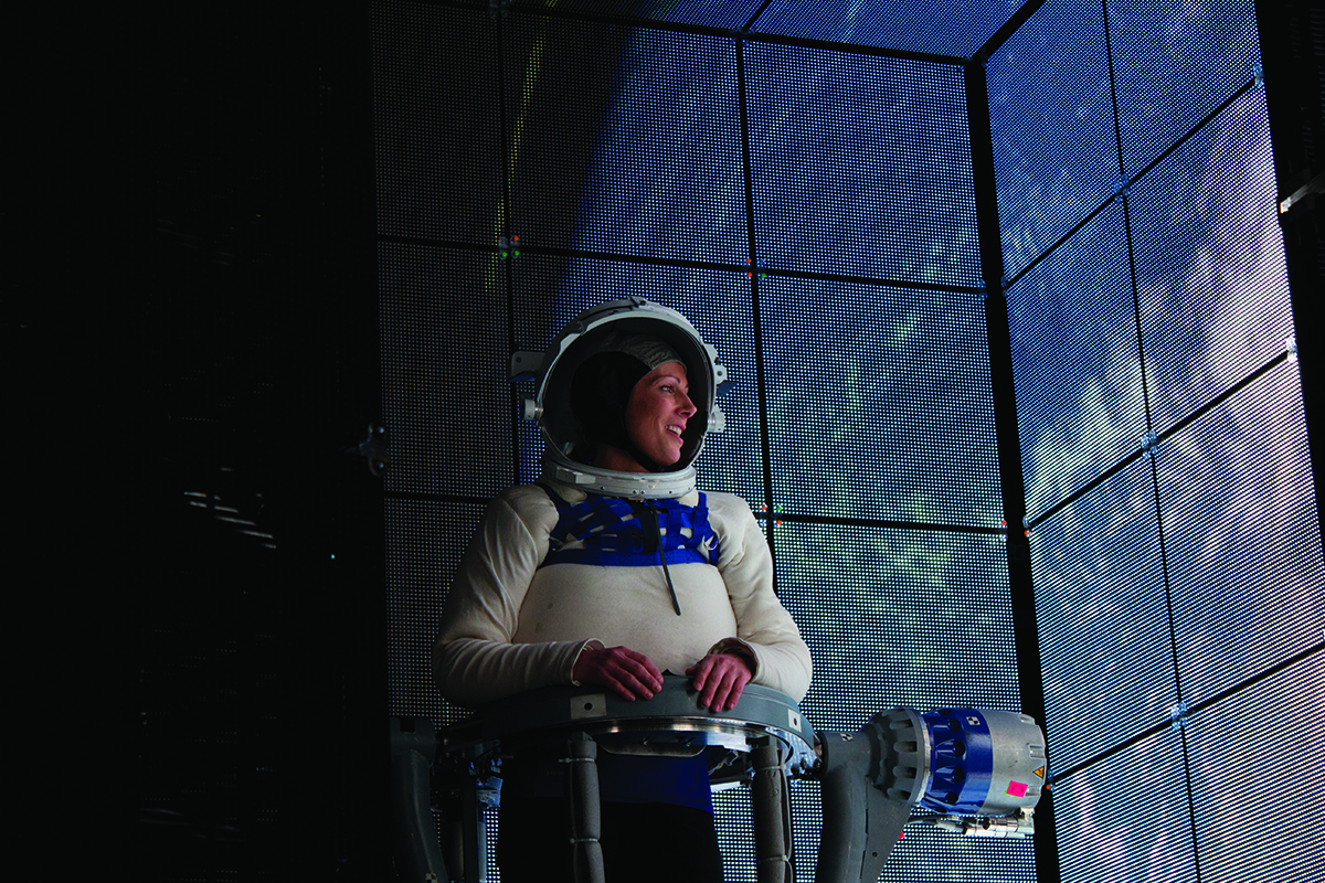 Behind the scenes on the making of Gravity, directed by Alfonso Cuarón. The film is set in space and more of it is CGI than not. In most sequences, only the characters' faces were shot in camera. Image courtesy of Framestore and Warner Bros. Film