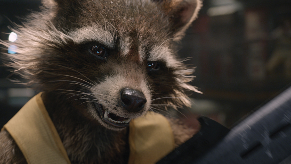Stills from Guardians of the Galaxy. Framestore was responsible for creating Rocket Raccoon and animating Rocket and tree-like character Groot (seen top) in over 600 shots. Image courtesy of Framestore and Marvel Studios