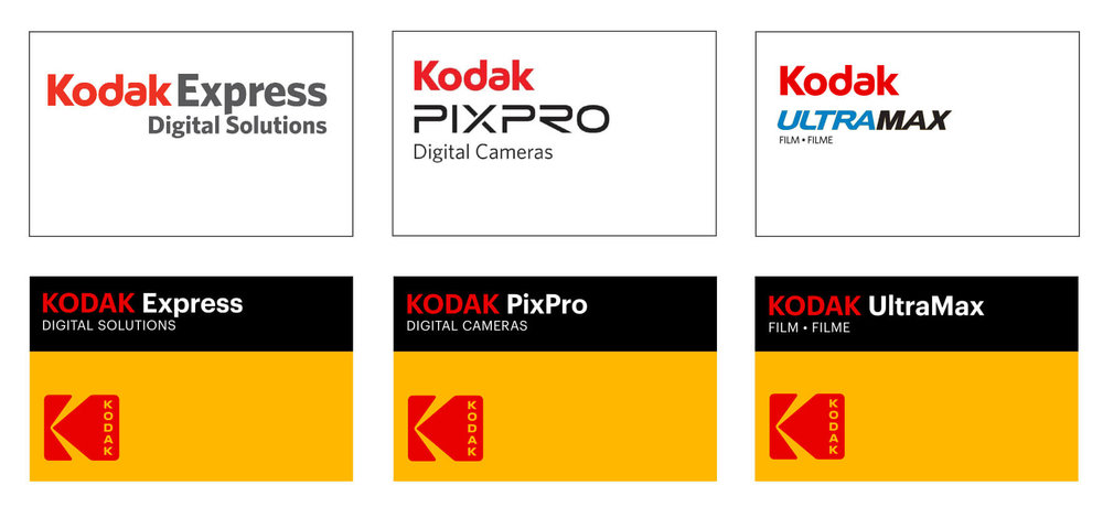 Kodak's previous branding (top row) and the new design system