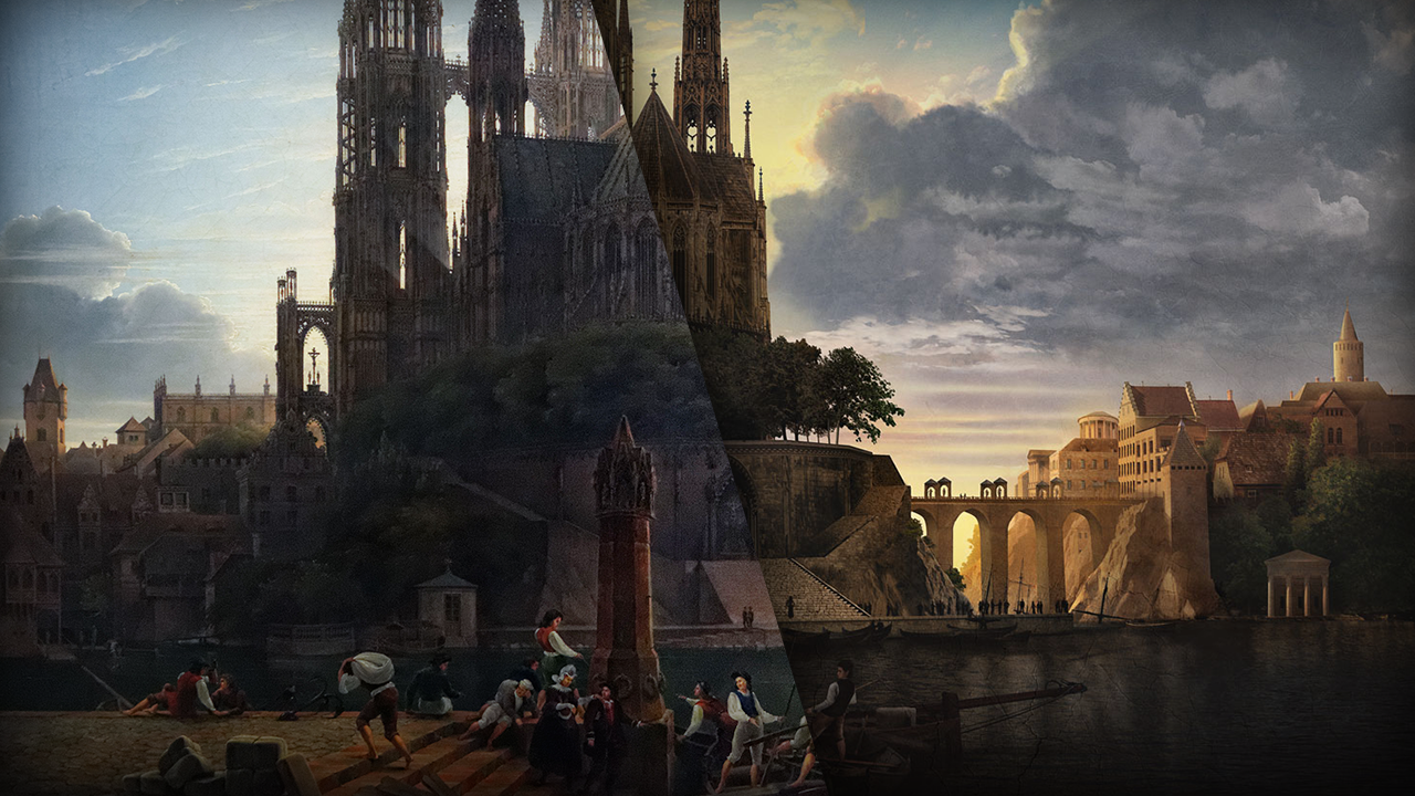 A comparison of both versions of Karl Friedrich Schinkel's Cathedral Towering