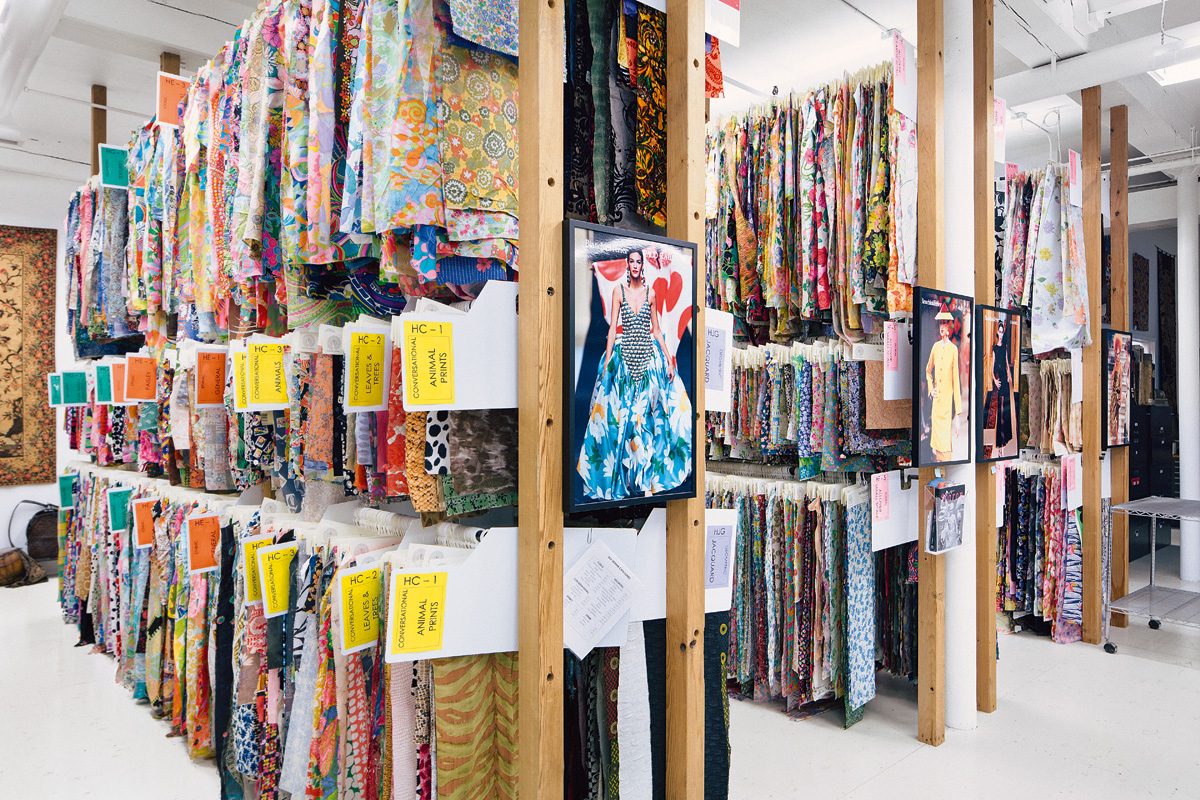One of the many racks of textile samples at The Design Library's central building, a converted fabric mill in New York's Hudson Valley