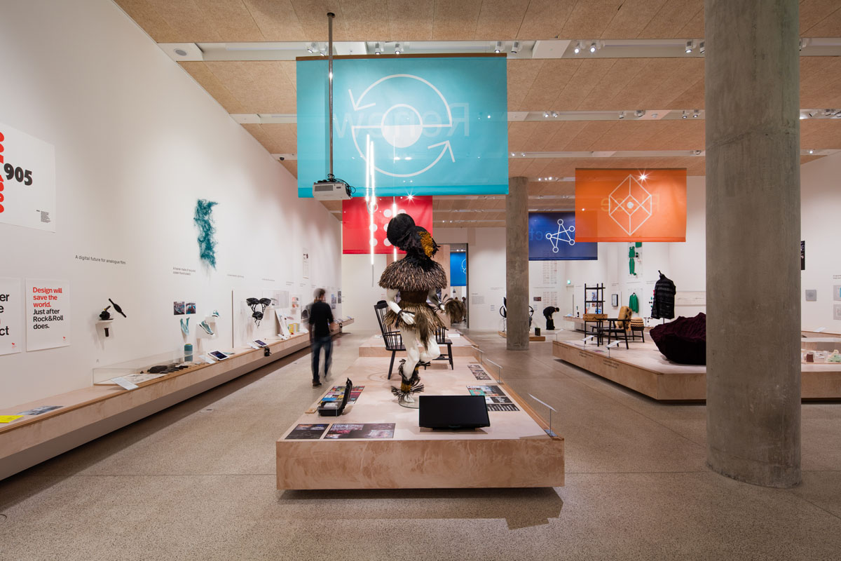 Beazley Designs of the Year at the Design Museum. Studio Hato designed the graphics for the show and created pictograms to represent each of its main themes (shown here on banners) Image: Luke Hayes