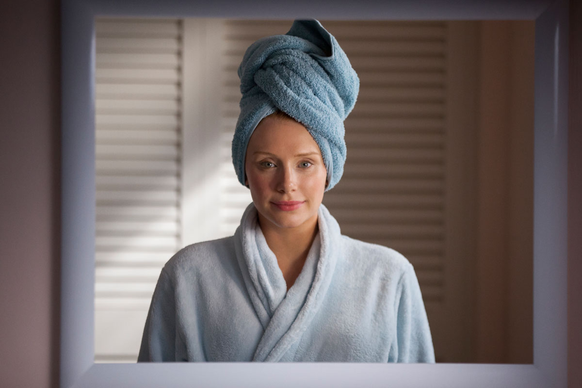 Bryce Dallas Howard in Black Mirror series 3 episode 1, 'Nosedive'. The episode presents a world where people are constantly rating each other out of five on social media