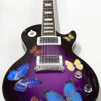 Damien Hirst 'Butterfly' guitar, signed by the artist. This Gibson Les Paul Goddess Electric guitar has been customised especially for Sound & Vision. World Renowned artist Damien Hirst has added his butterfly artwork onto the guitar. (Est value - £30,000 - £40,000)