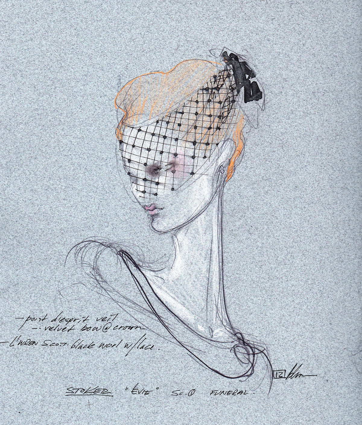 Bart Mueller's sketch for the veil added to the L'Wren Scott dress that Nicole Kidman wears in Stoker (2012) © Bart Mueller