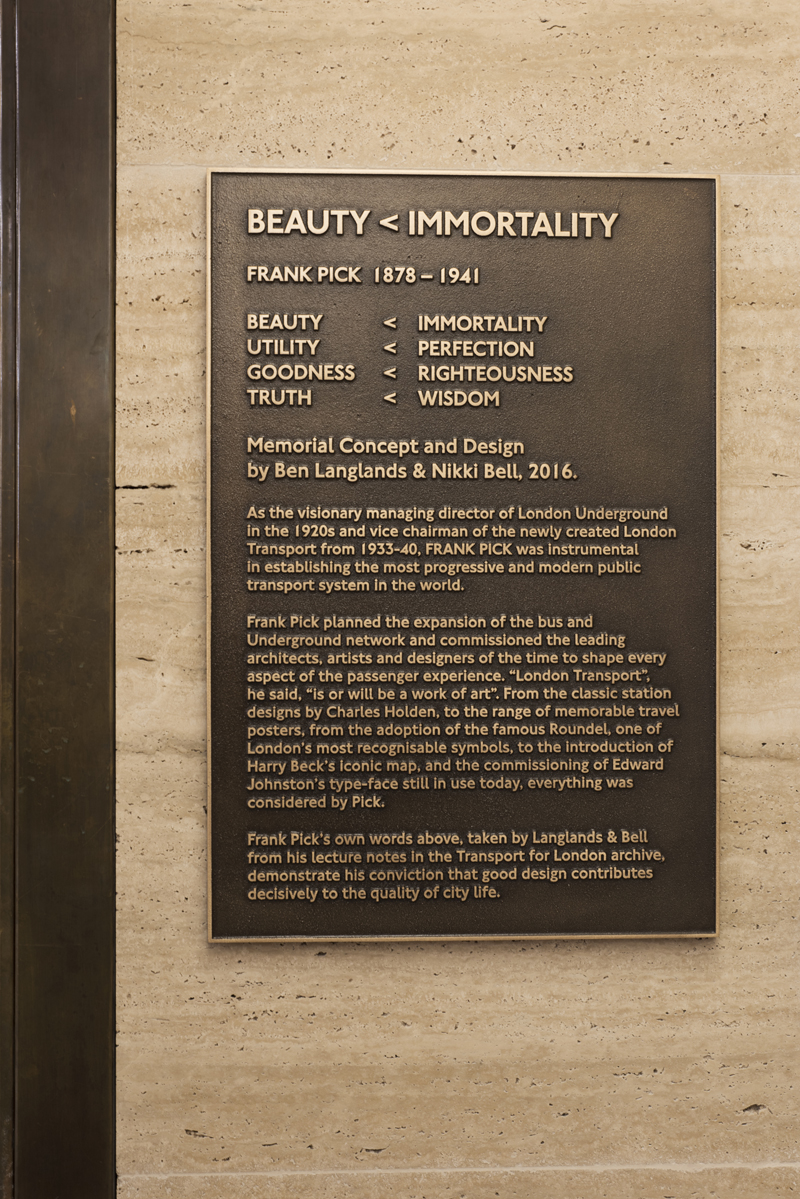 Beauty < Immortality, a memorial to Frank Pick by Langlands & Bell