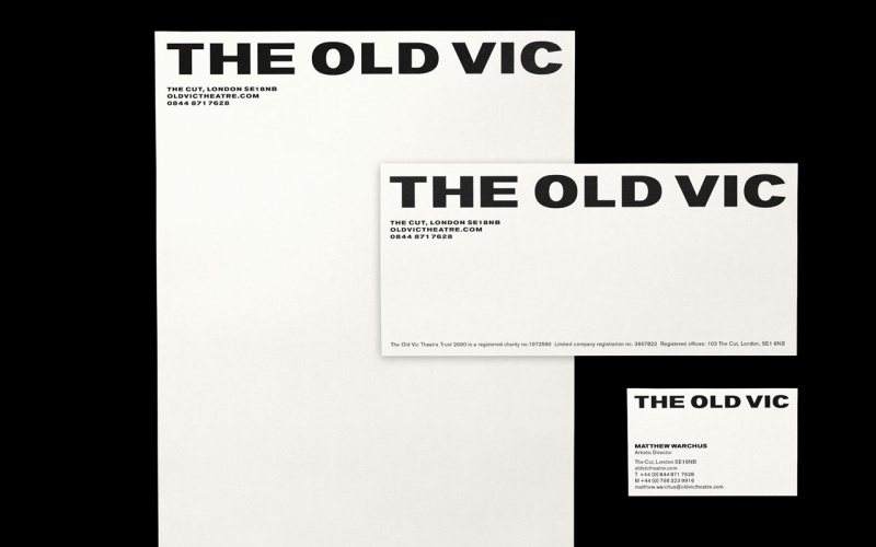 Stationery featuring The Old Vic's new logotype