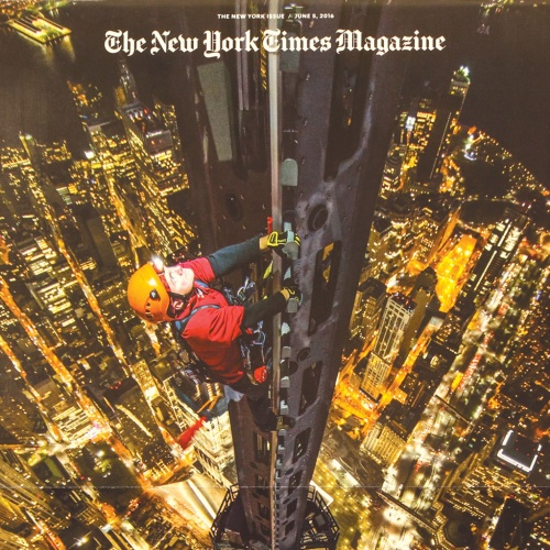 "The cover of the August 21 edition which featured a photo illustration by Maurizio Cattelan of a reproduction of Michelangelo's statue of David; June 5 'New York' issue 'High Life – The City Above 800 Feet', which was rotated in order to facilitate tall, vertical-format images. ""This was my favourite issue of the year, photographically and design wise,"" says Ryan of the issue. ""The photo department generated the ideas for it and produced the photo essays and the cover image. The art department created brilliant design and typography for the issue, including laying out the magazine vertically – a first for us. This is a case where it all came together beautifully – photography and design. This issue represents most clearly the range of our photographic vision"""