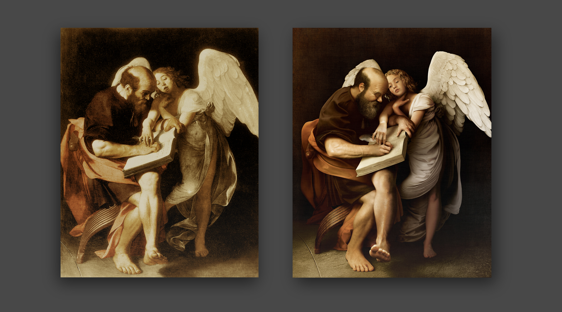 The original painting on the left, and the recreated version