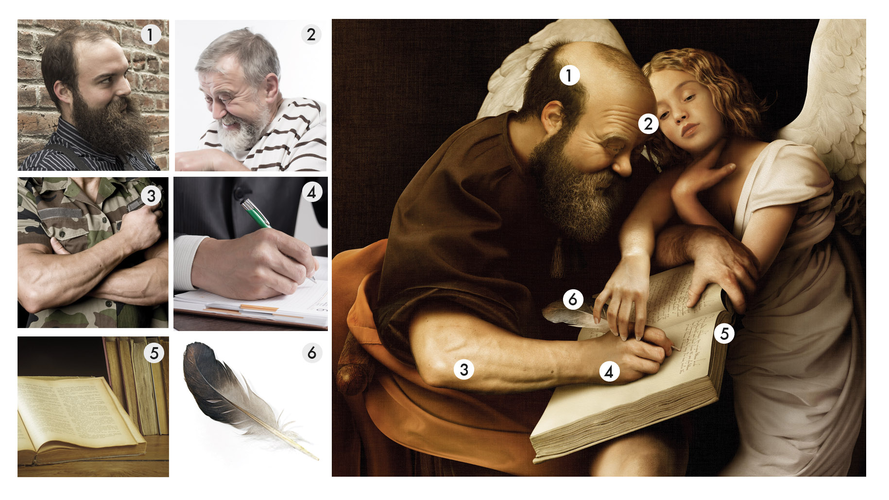 Images used to recreate the figure of St.Matthew