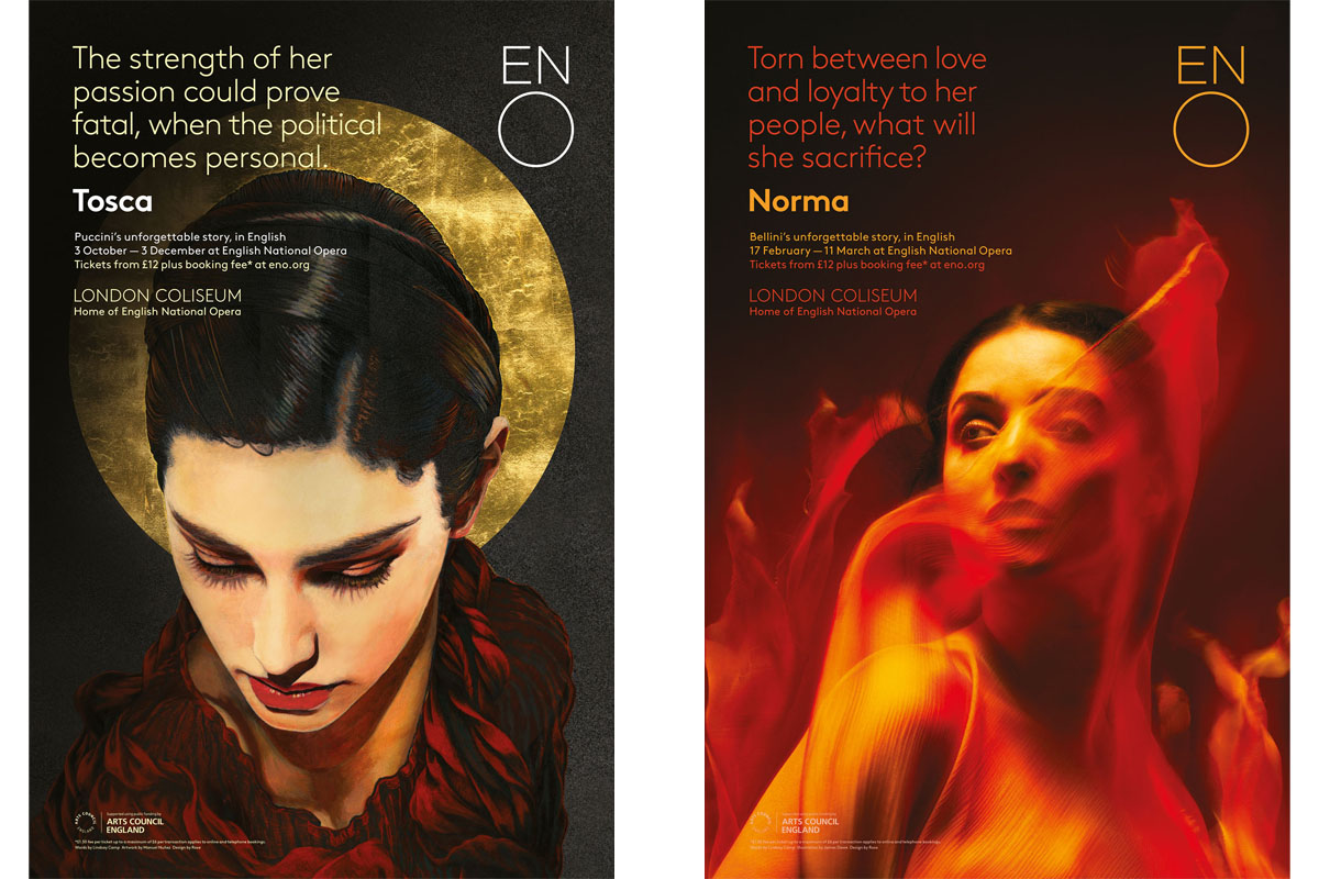 Posters for Tosca, featuring artwork byManuel Nuñezand Norma, with an image by Tim Flach